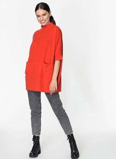 Loves You Çift Cep Loose Fit Selanik Sweatshirt Kırmızı